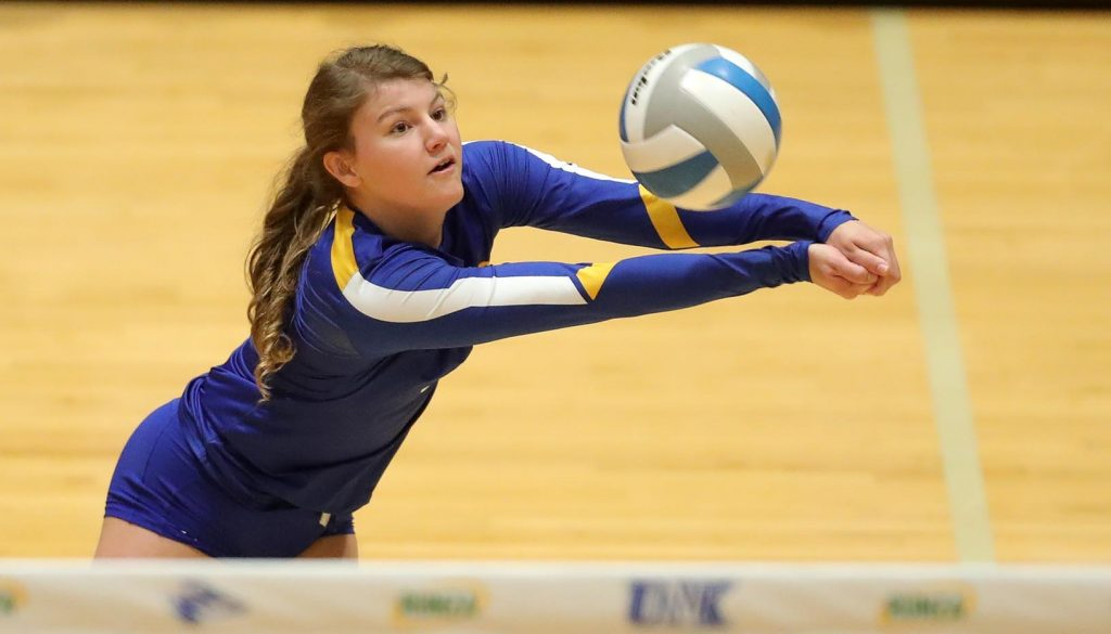 """""""I wouldn't change it for the world,"""" senior Ellie McDonnell said of her UNK volleyball career. """"I'm so glad I came here. It's one of the best decisions I've ever made."""" (Photo by Corbey R. Dorsey, UNK Communications)"""