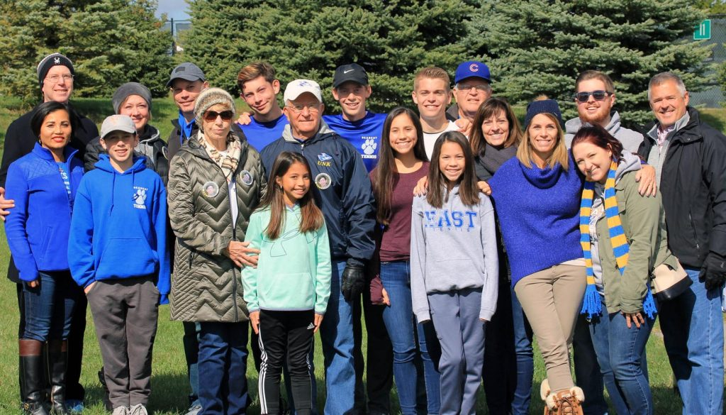 Earl Rademacher and his family, pictured during last month's Class A boys state tennis tournament in Omaha, were recently named the Nebraska Tennis Association Family of the Year. Rademacher and all four of his children played tennis for UNK. (Courtesy photo)