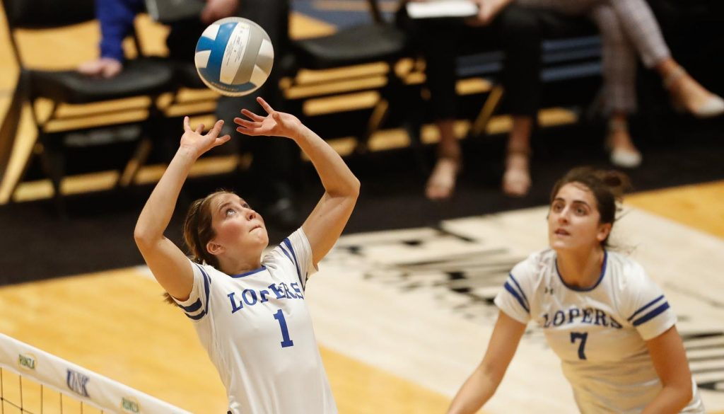 """Lindsey Smith (1) called her UNK volleyball career a """"wild ride."""" """"I've learned a lot more being here and playing in this environment and at this level than I ever would have dreamed,"""" she said. """"I've definitely developed more as a person and a player here, and I think anyone who has played here can say that."""" (Photo by Corbey R. Dorsey, UNK Communications)"""