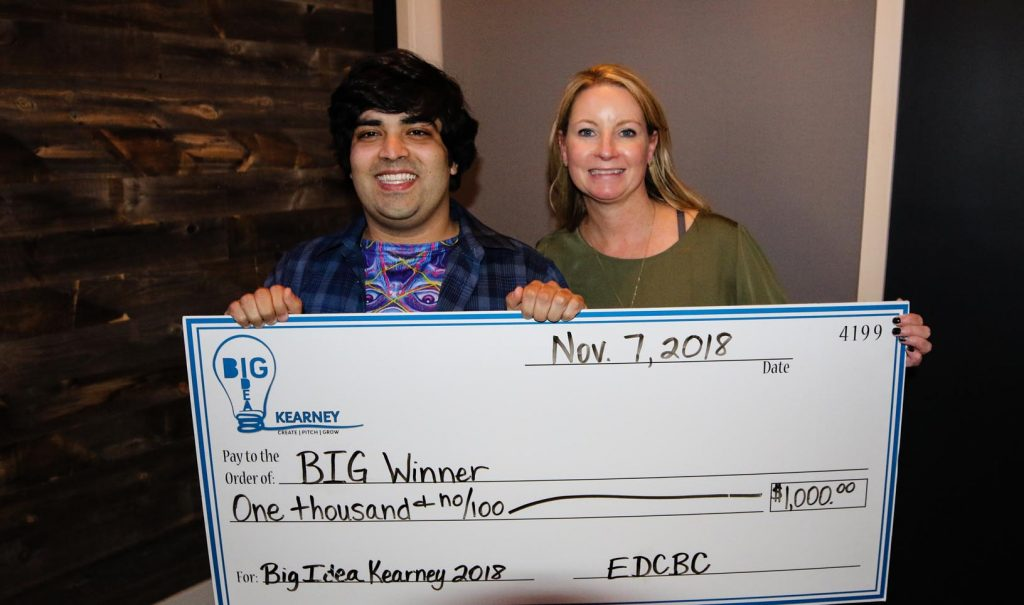 SriTeja Vedurumudi, a UNK freshman from San Antonio, Texas, won Big Idea Kearney's college division with Musician Connection, a website that would connect bands with venues. (Photo by Todd Gottula, UNK Communications)