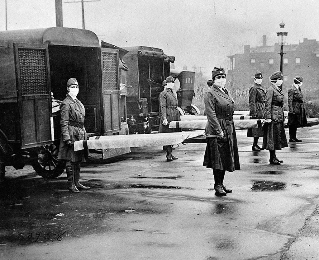 The St. Louis Red Cross Motor Corps prepares to transport patients in 1918 during the influenza pandemic that killed 675,000 in the United States. UNK's Frank Museum will host an event discussing its impact on the Midwest at 6 p.m. Thursday. (Courtesy photo)