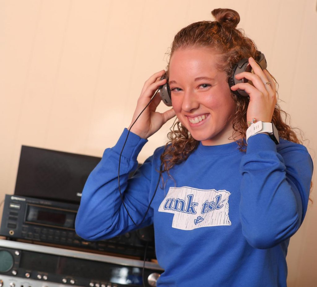 UNK freshman Corinne Bredthauer discovered a passion for music after multiple concussions ended her soccer career and impacted her ability to read during high school. The exercise science major from Lincoln shares her story in a video project that's part of Tuesday's film festival at The World Theatre. (Photo by Corbey R. Dorsey, UNK Communications)