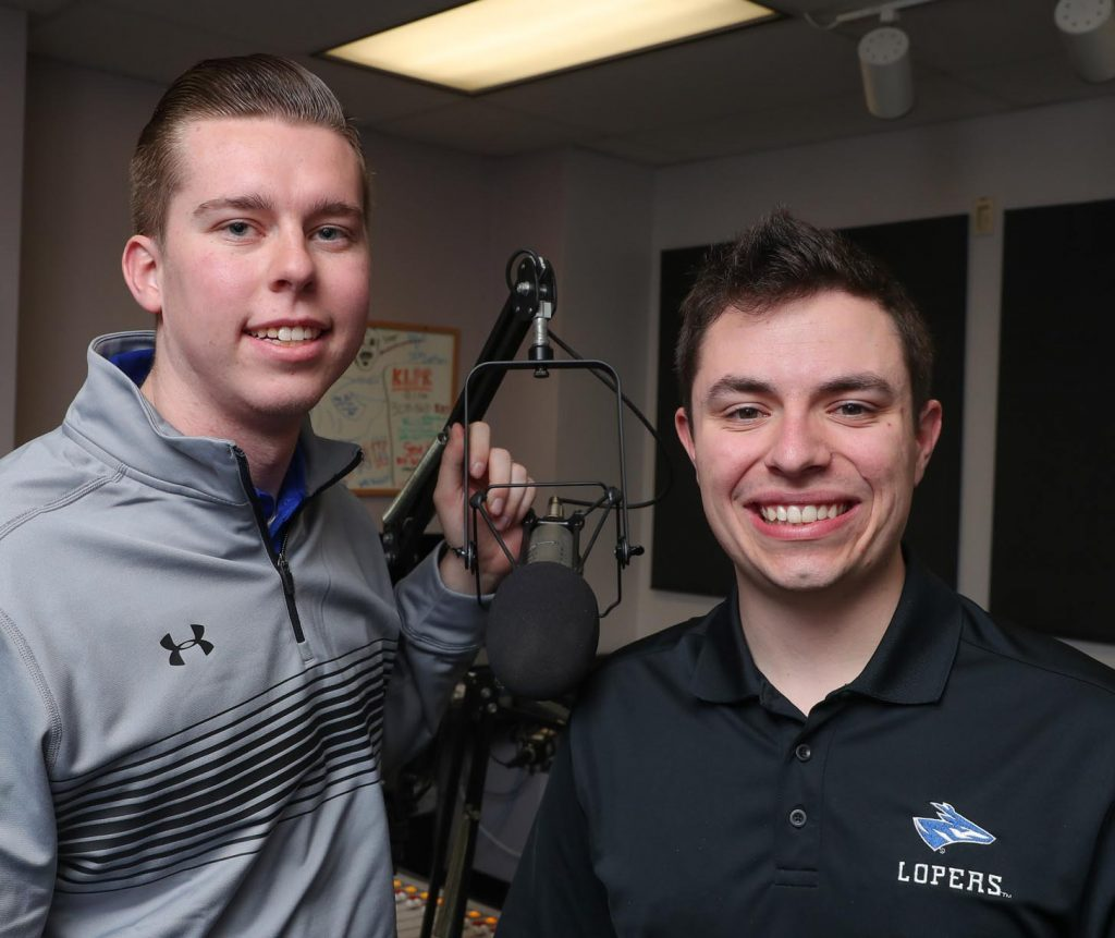 "UNK students Evan Jones, left, and Austin Jacobsen are finalists in the best football play-by-play and best sports pregame/postgame show categories of the Intercollegiate Broadcasting System College Media Awards. Jacobsen and Jones broadcast Loper football games for KLPR 91.1 FM and host the ""UNK Gameday"" pregame show. (Photo by Corbey R. Dorsey, UNK Communications)"