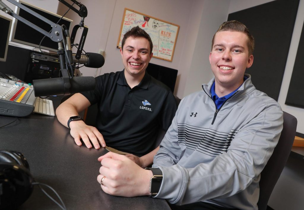 "UNK students Austin Jacobsen, left, and Evan Jones are finalists in the best football play-by-play and best sports pregame/postgame show categories of the Intercollegiate Broadcasting System College Media Awards. Jacobsen and Jones broadcast Loper football games for KLPR 91.1 FM and host the ""UNK Gameday"" pregame show. (Photo by Corbey R. Dorsey, UNK Communications)"